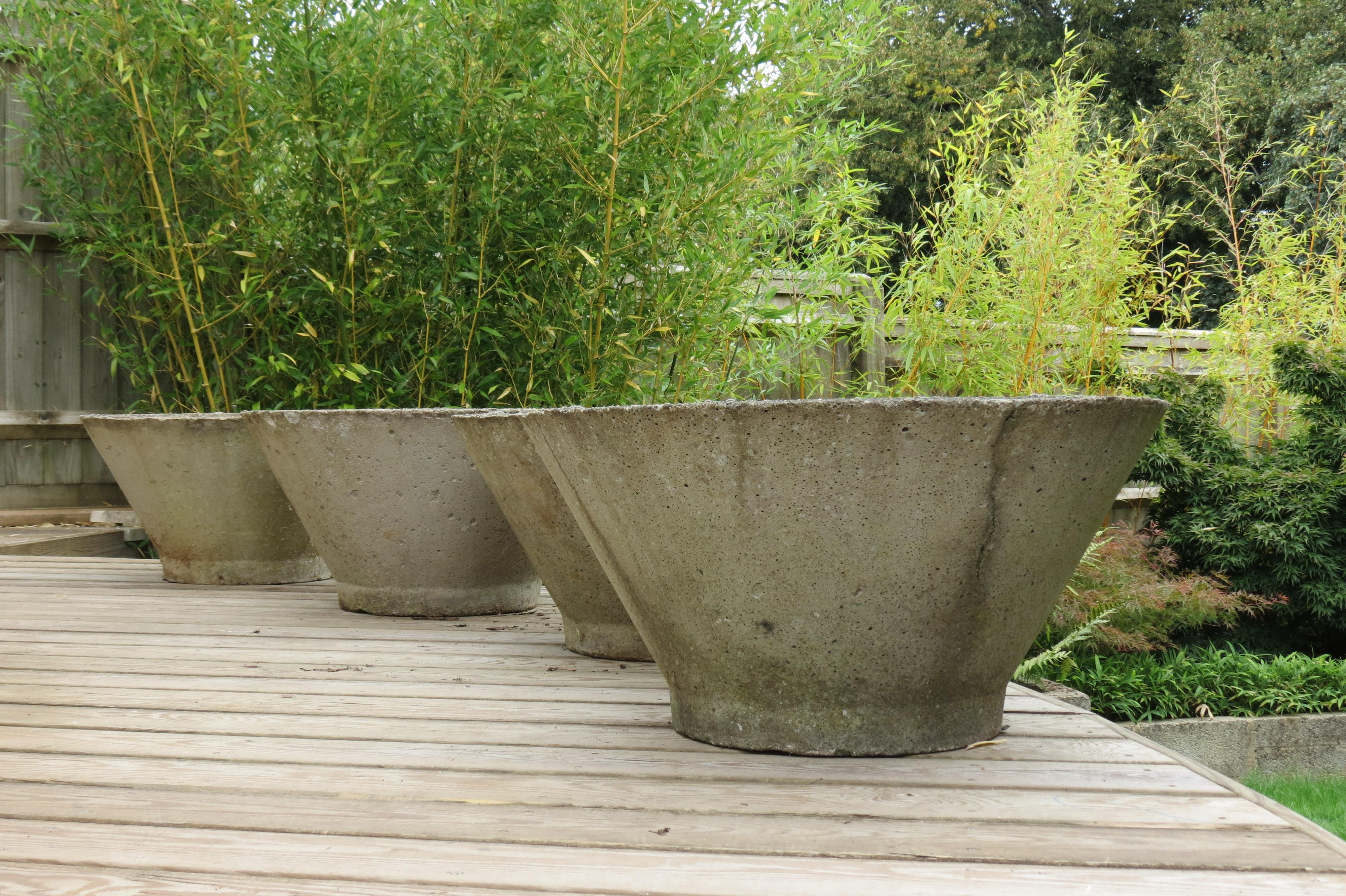 Pair Of Large Midcentury Concrete Garden Plant Pots 1970s At 1stdibs