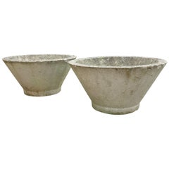 Pair of Large Midcentury Concrete Garden Pots 1970s