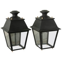 Pair of Large Midcentury French Metal Street Lanterns with Brass, Glass, Mirror