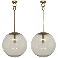 Pair of Large Midcentury Glass Globes Pendants, Germany, circa 1960s