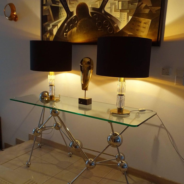 Pair Large Kaiser Glass Brass Table Lamps Vistosi Seguso Era