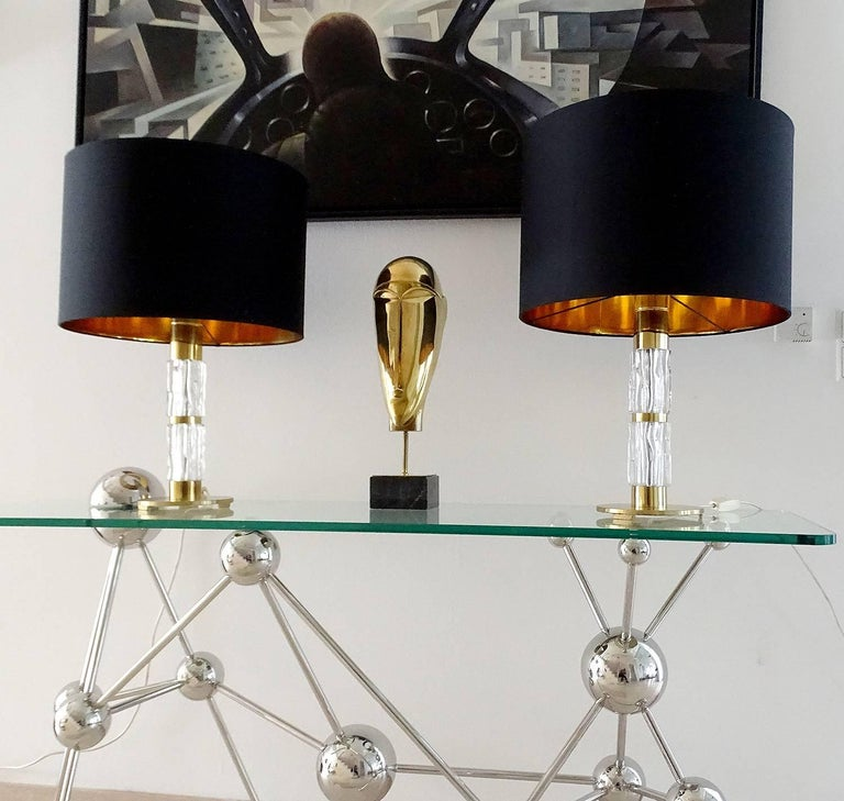 Mid-Century Modern Pair of MidCentuy Modern Kalmar  Glass Table Lamps with Brass Fittings For Sale