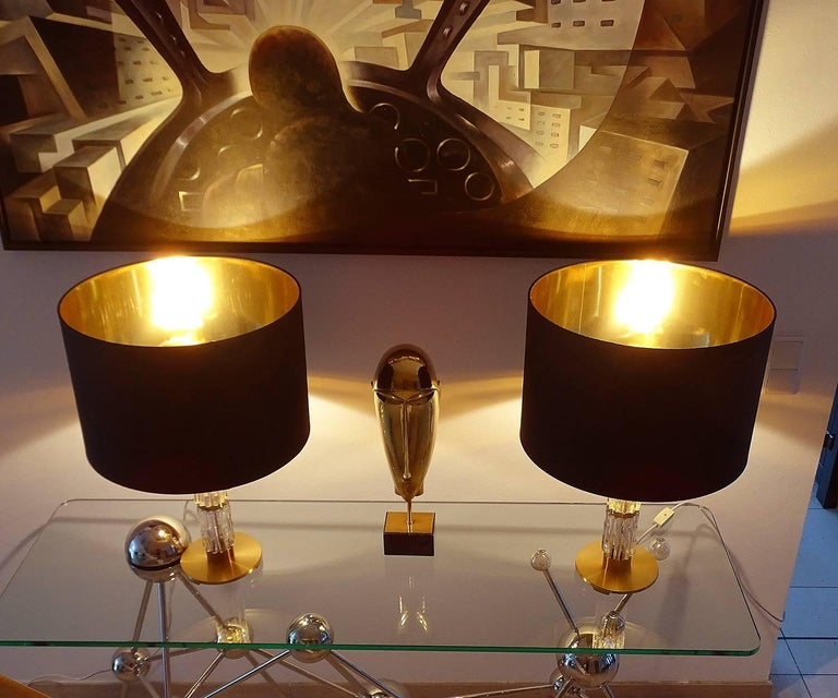 German Pair of MidCentuy Modern Kalmar  Glass Table Lamps with Brass Fittings For Sale