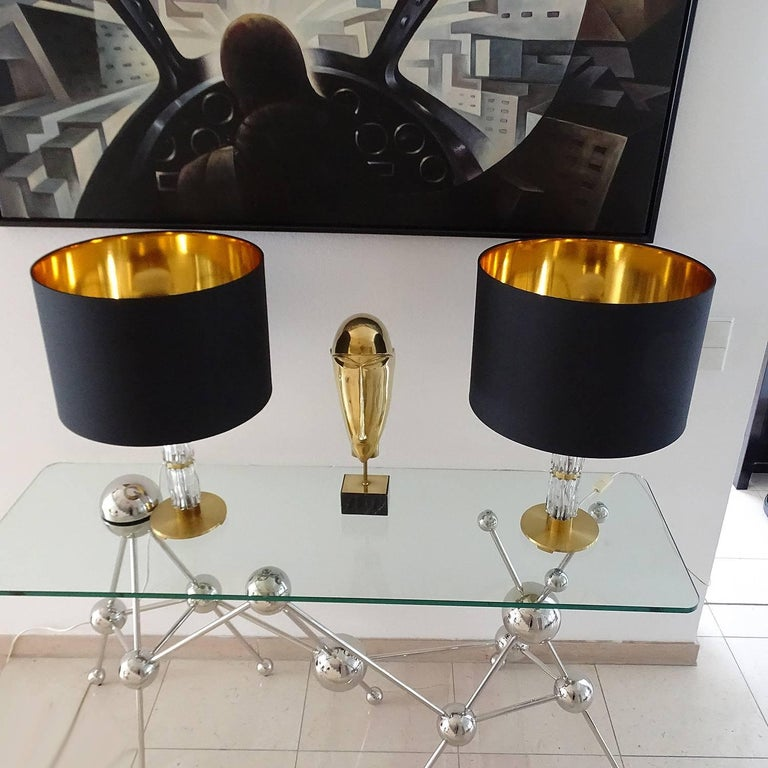 Pair of MidCentuy Modern Kalmar  Glass Table Lamps with Brass Fittings In Excellent Condition For Sale In Bremen, DE