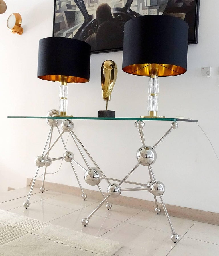 Mid-20th Century Pair of MidCentuy Modern Kalmar  Glass Table Lamps with Brass Fittings For Sale