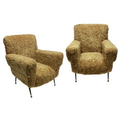 Pair of Large Midcentury Italian Armchairs in Lambswool