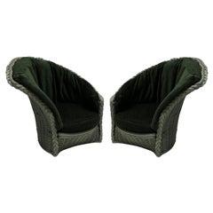 Pair of Large Midcentury Italian Rattan Lounge Chairs