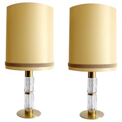Pair Very Large Sideboard Credenza Kaiser Table Lamps Lights, Glass Brass, 1960s