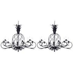 Pair of Large Midcentury Metal Pineapple Chandeliers