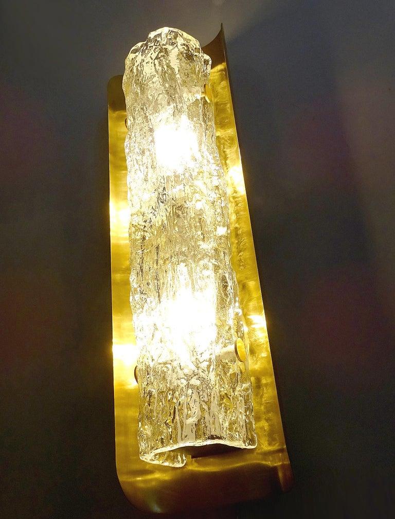 Pair of Large MidCentury Murano Glass Brass Mirror Sconces ,  Gio Ponti Era For Sale 5