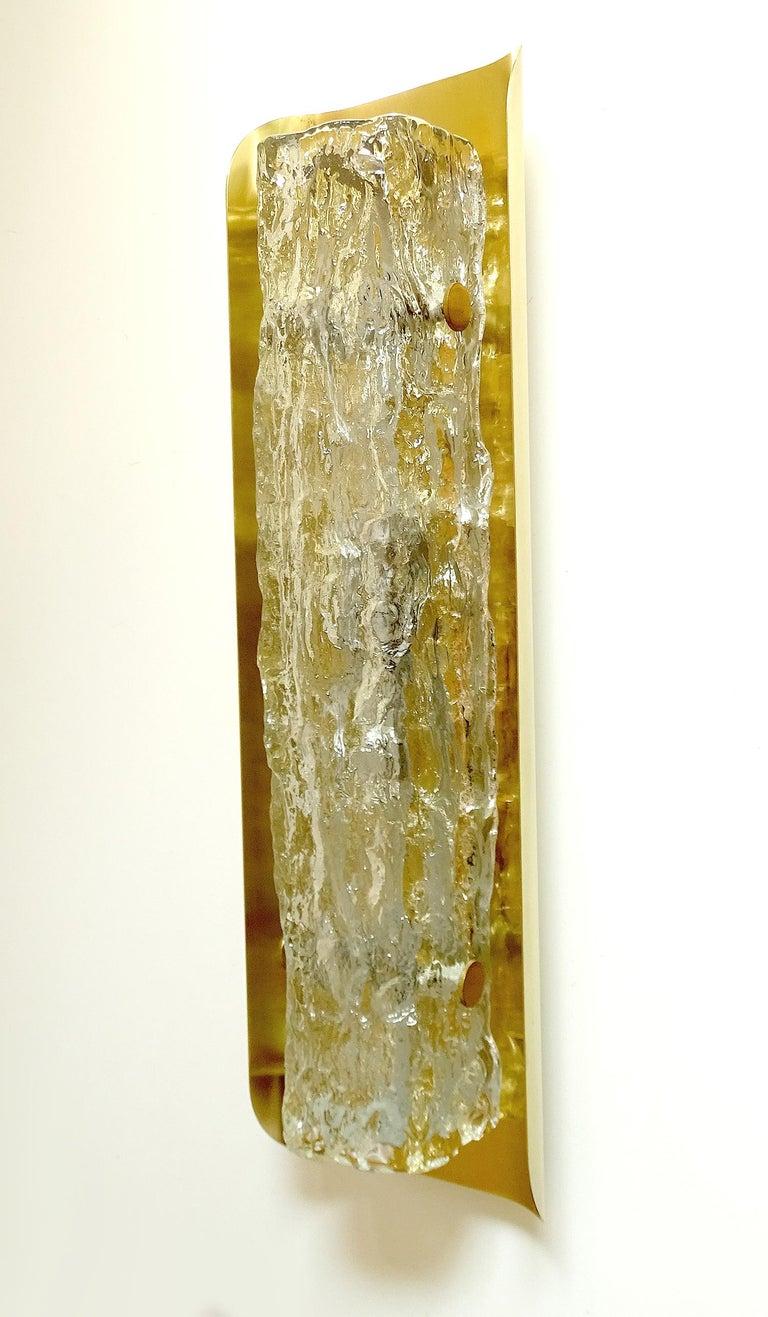 Pair of Large MidCentury Murano Glass Brass Mirror Sconces ,  Gio Ponti Era For Sale 7