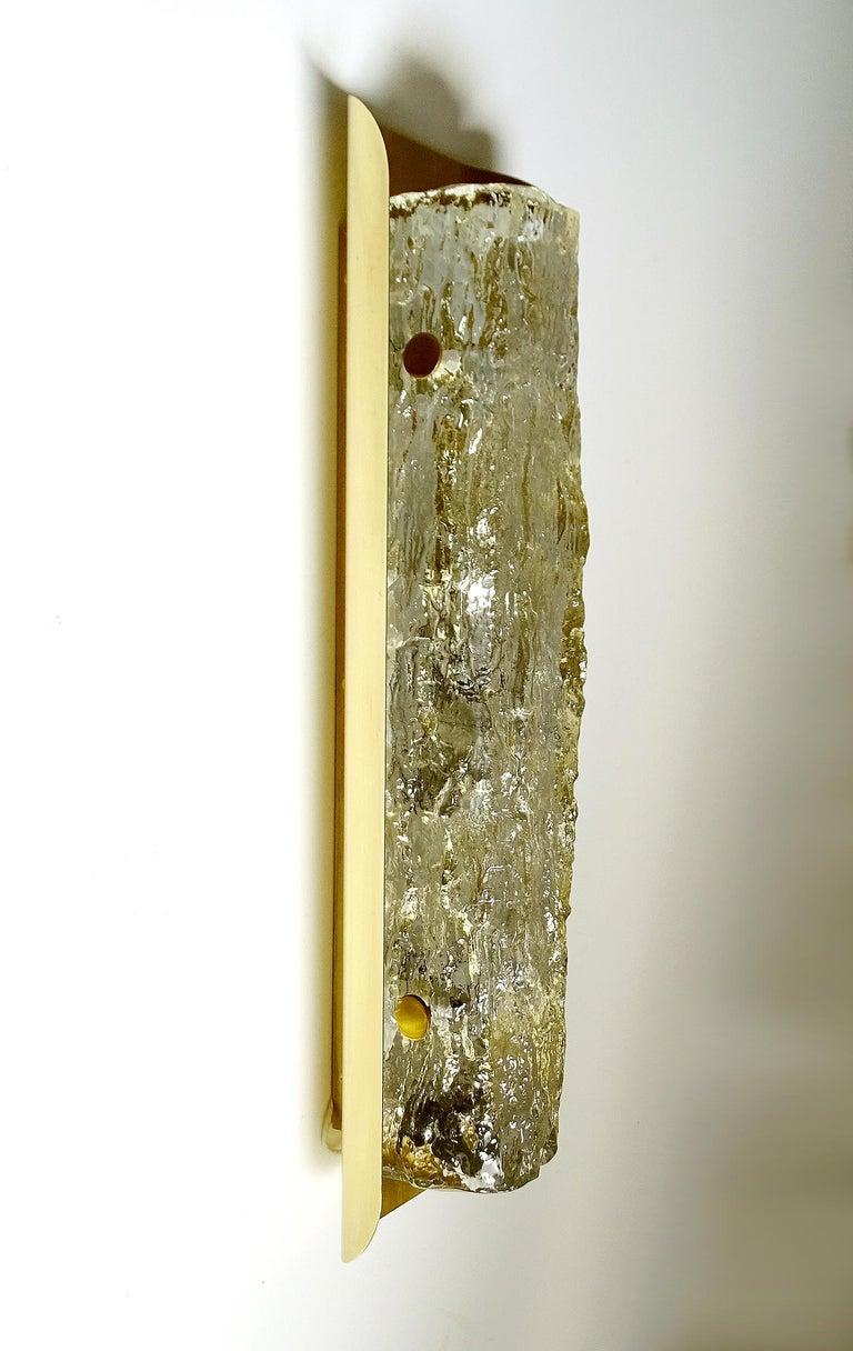 Pair of Large MidCentury Murano Glass Brass Mirror Sconces ,  Gio Ponti Era For Sale 9