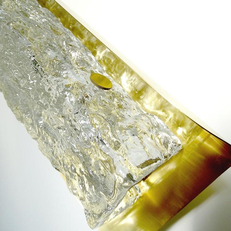 Pair of Large MidCentury Murano Glass Brass Mirror Sconces ,  Gio Ponti Era For Sale 13