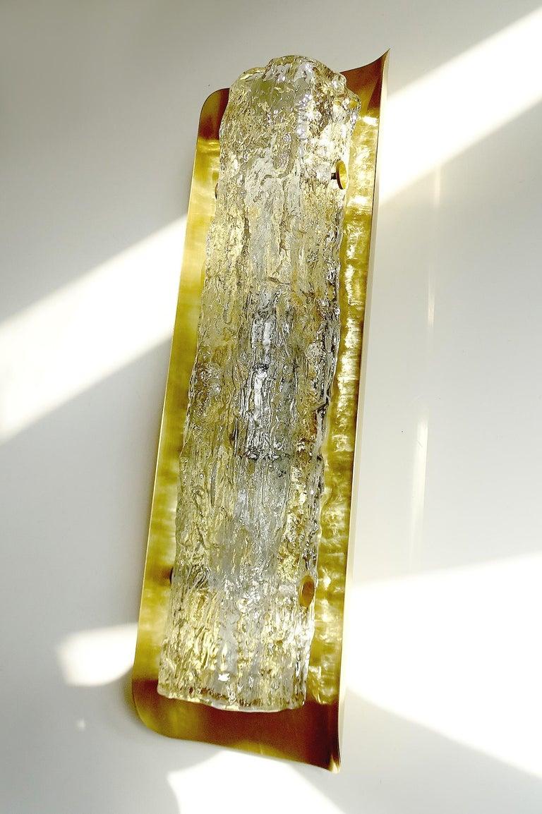 European Pair of Large MidCentury Murano Glass Brass Mirror Sconces ,  Gio Ponti Era For Sale