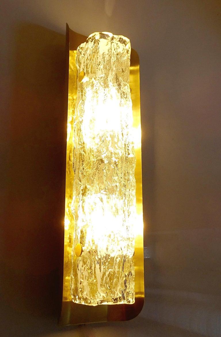 Pair of Large MidCentury Murano Glass Brass Mirror Sconces ,  Gio Ponti Era For Sale 1