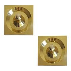 Pair of  Architectonic Midcentury Kaiser Brass Mirror Sconces, Gio Ponti Era
