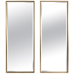 Pair of Large Midcentury Style Silver Gilt Modern Full Length Mirrors