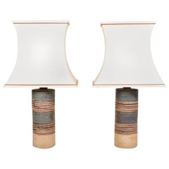 Pair of Large Midcentury Table Lamps by Tue Poulsen, Made in Denmark, 1960s