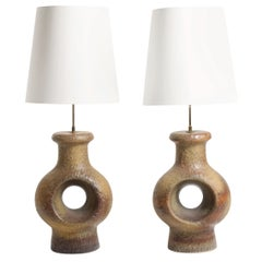 Pair of Large Midcentury Table Lamps, Made in Denmark, 1960s