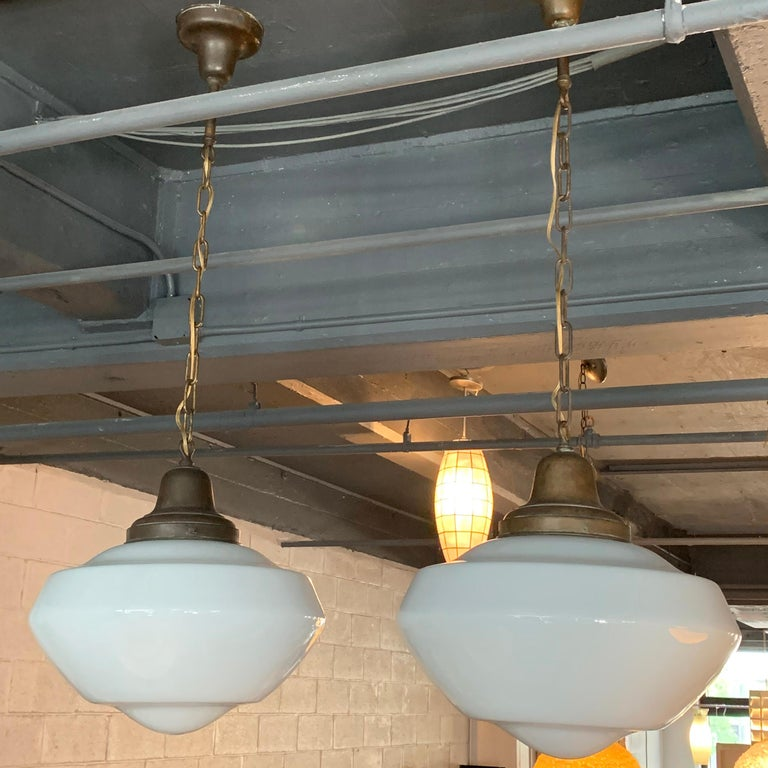 Industrial Pair of Large Milk Glass Library Pendant Lights For Sale