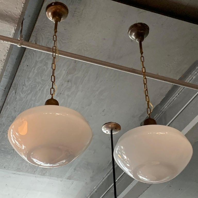 Pair of Large Milk Glass Library Pendant Lights In Good Condition For Sale In Brooklyn, NY