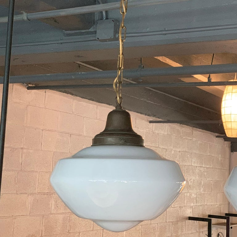 20th Century Pair of Large Milk Glass Library Pendant Lights For Sale