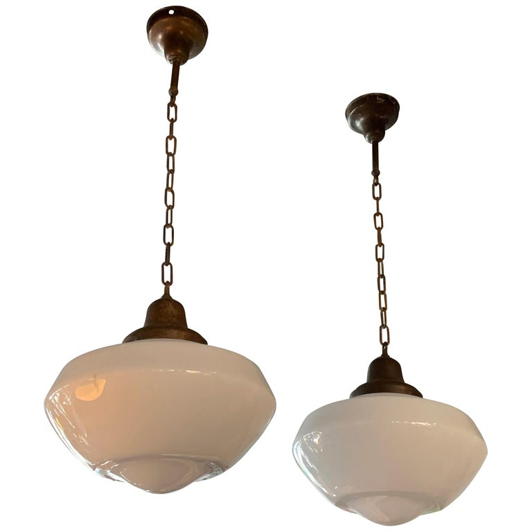 Pair of Large Milk Glass Library Pendant Lights For Sale