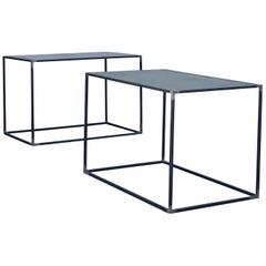 Pair of Large Minimalist 'Filiforme' Patinated Steel End Tables by Design Frères