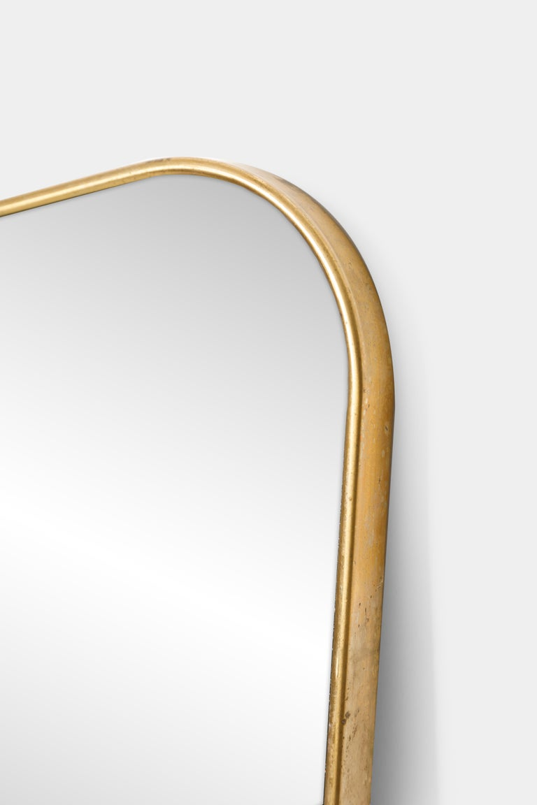 Gilt Pair of Large Mirrors in the Style of Gio Ponti For Sale