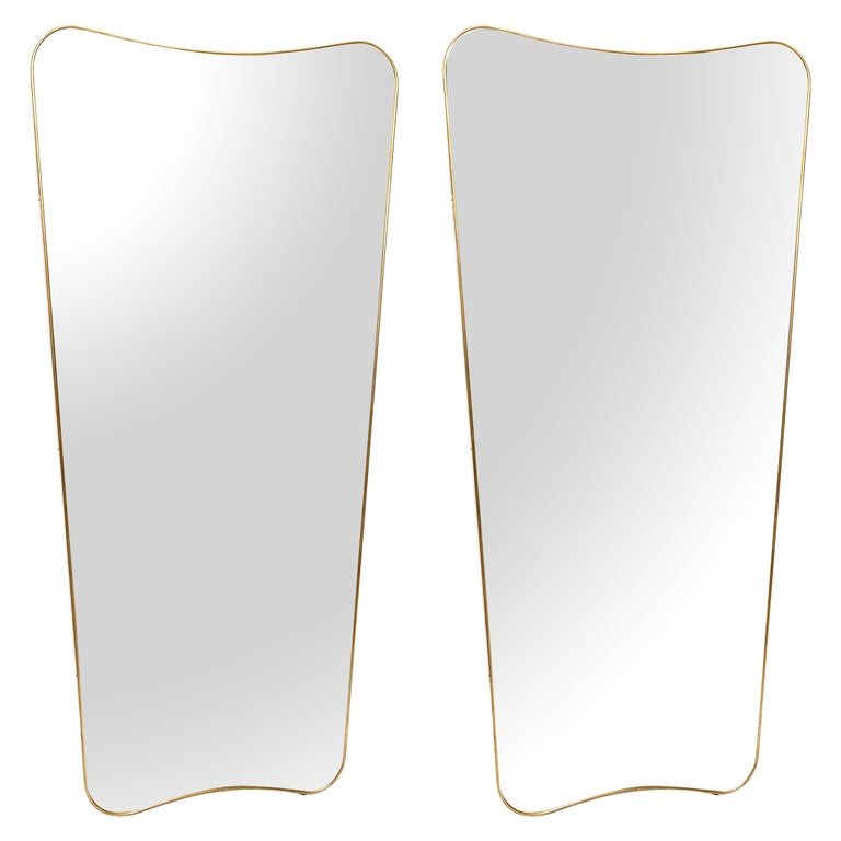 Pair of Large Mirrors in the Style of Gio Ponti For Sale