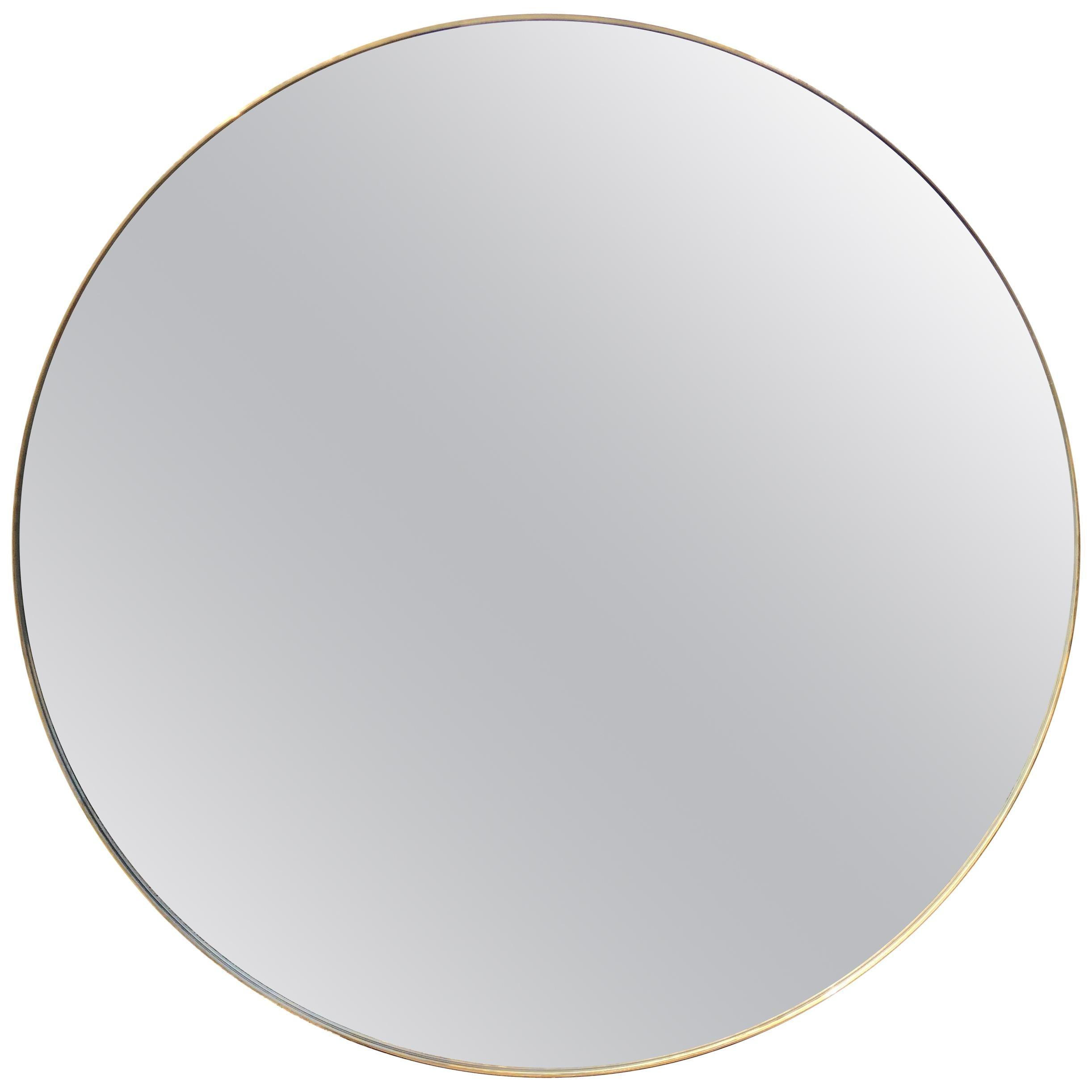 Pair of Large Modern Brass Framed Mirrors