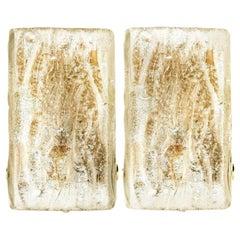 Pair of Large Modern Brass Ice Glass Wall Lights by J. T. Kalmar, 1960s