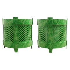 Pair of Large Modern Custom Green Planters