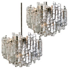 Pair of Large Modern Ice Glass Chandeliers by J. T. Kalmar