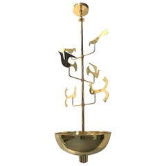 Pair of Large Moderne Bronze Light Fixtures