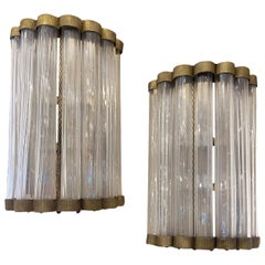 Pair of Large Moderne Glass Sconces