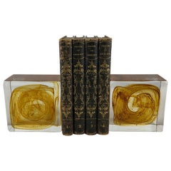 Pair of Large Murano Art Glass Bookends, Amber
