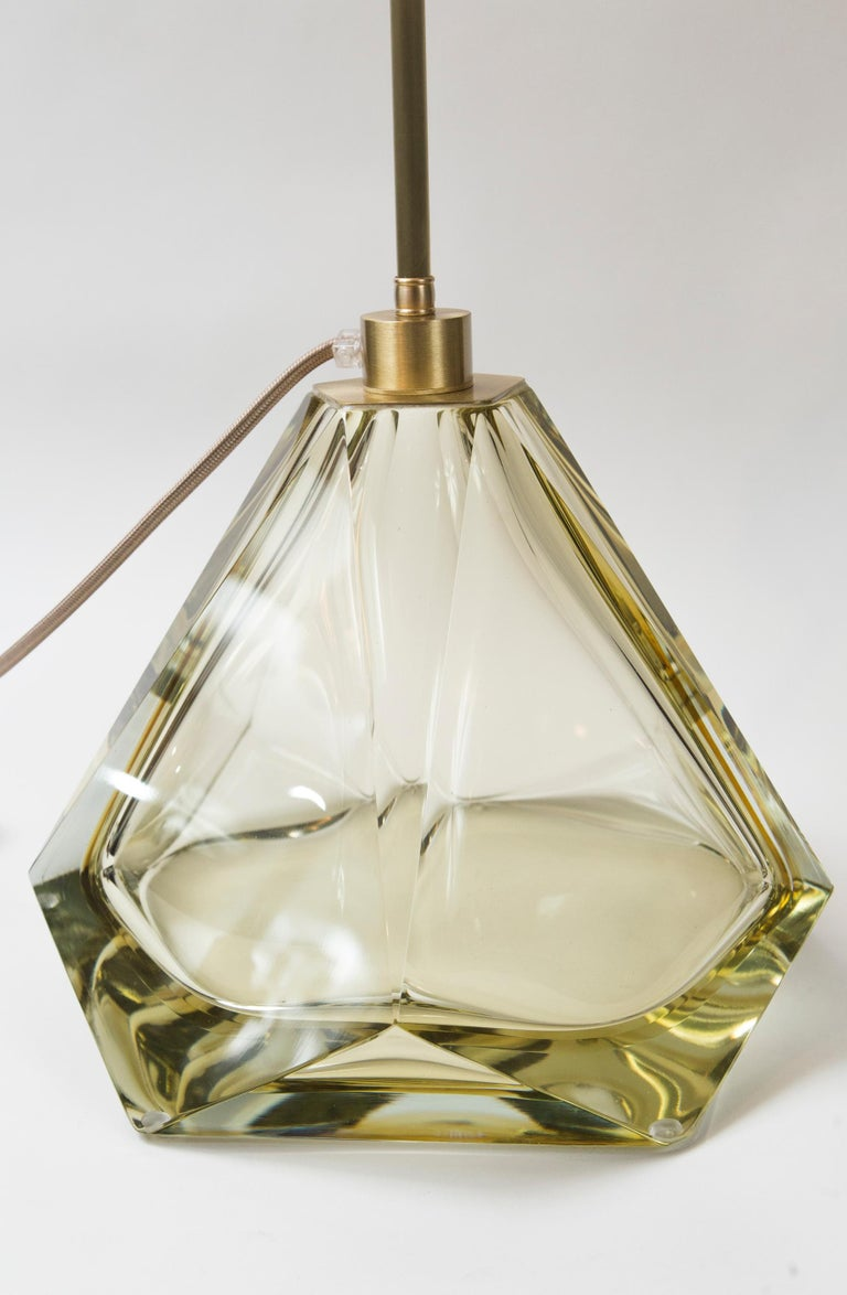Modern Pair of Large Murano Diamond Faceted Citrine Glass Lamps, Contemporary, Signed For Sale