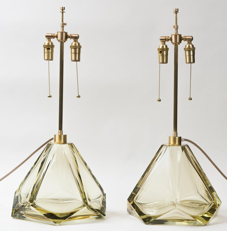 Blown Glass Pair of Large Murano Diamond Faceted Citrine Glass Lamps, Contemporary, Signed For Sale