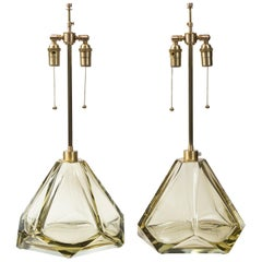 Pair of Large Murano Diamond Faceted Citrine Glass Lamps, Contemporary, Signed
