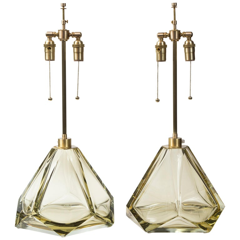 Pair of Large Murano Diamond Faceted Citrine Glass Lamps, Contemporary, Signed For Sale