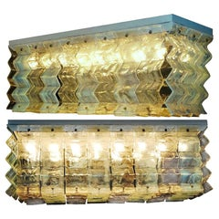 Pair of Large Murano Glass Ceiling Lights by Carlo Nason for Mazzega, 1970s