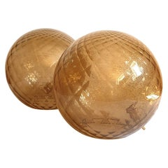 Pair of Large Murano Glass Globe Table Lamps, Mid-Century Modern, Mazzega Style