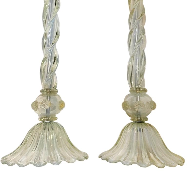 Pair of Large Murano Glass Table Lamps In Good Condition For Sale In New York, NY