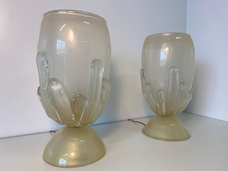 Pair of Large Murano Glass Table Lamps, Italy For Sale 4