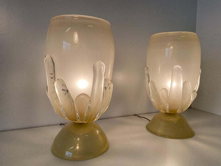 Art Deco Pair of Large Murano Glass Table Lamps, Italy For Sale