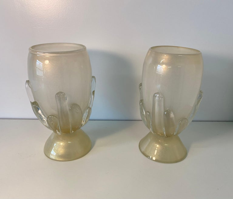 Contemporary Pair of Large Murano Glass Table Lamps, Italy For Sale