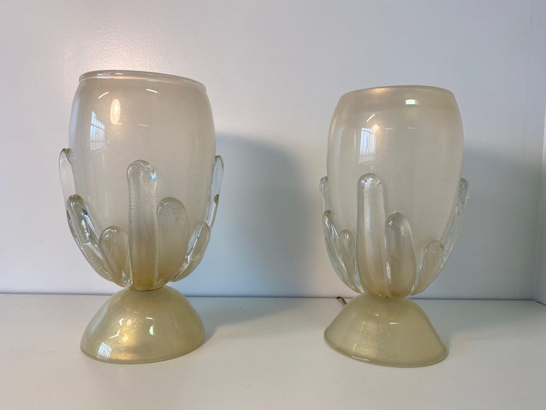 Pair of Large Murano Glass Table Lamps, Italy For Sale 1