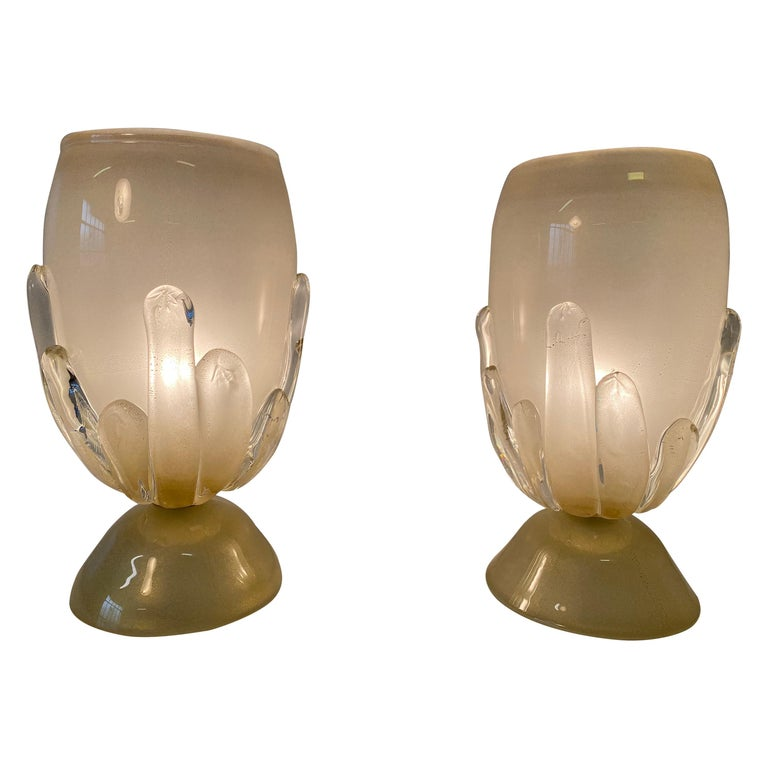 Pair of Large Murano Glass Table Lamps, Italy For Sale