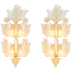 Pair of Large Murano Glass Wall Sconces by Barovier & Toso, Italy, 1970s